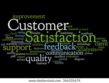 Customer Satisfaction, word cloud concept on black background.  - stock photo