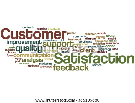Customer Satisfaction, word cloud concept on white background.  - stock photo