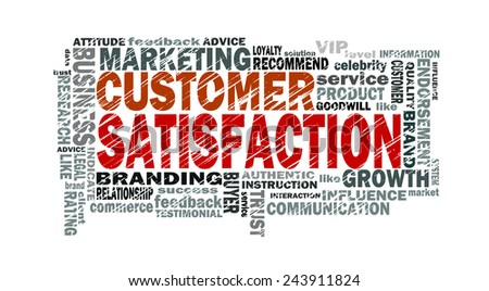 customer satisfaction word cloud with related tags - stock photo