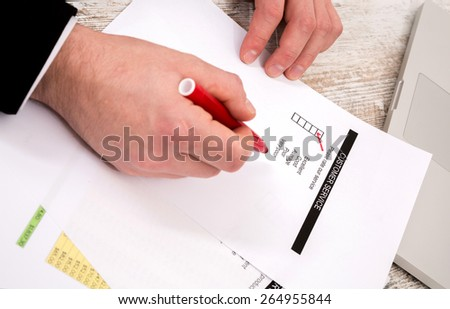 Customer service, a businessman rate the service 