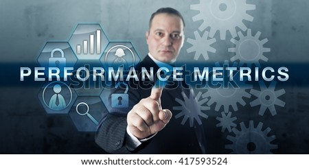 Customer service advisor is pressing PERFORMANCE METRICS on an interactive touch screen display. Business concept for data and parameter used for assessment and measurement of safety and resources. - stock photo