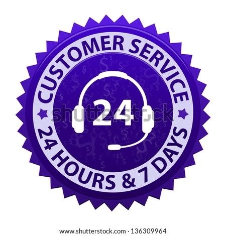 Customer service and support around the clock, 24 hours a day & 7 days a week - icon isolated on white background - stock photo
