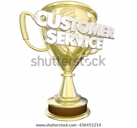 Customer Service Award Prize Best Staff Words 3d Illustration - stock photo