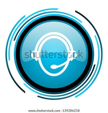 customer service blue circle glossy icon  - stock photo