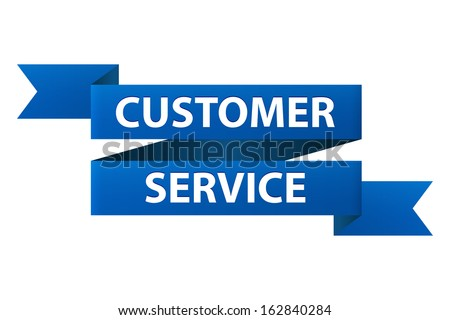 Customer service blue ribbon banner icon isolated on white background. Illustration