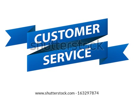 Customer service blue ribbon banner icon isolated on white background. Illustration - stock photo