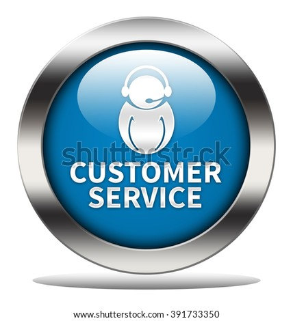 Customer Service button isolated - stock photo