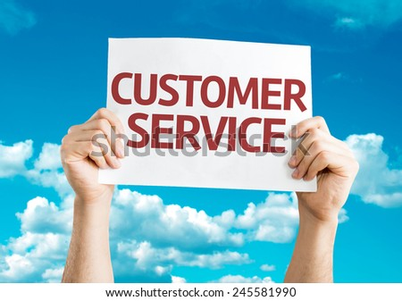 Customer Service card with sky background - stock photo