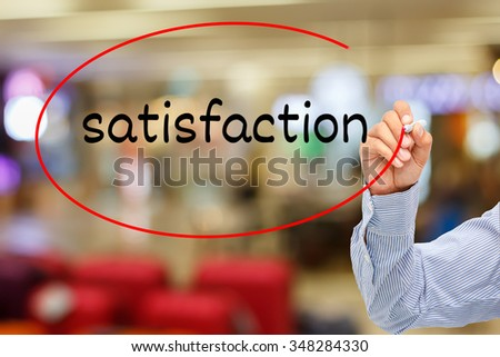 customer service concept.businessman writing service satisfaction On Screen - stock photo