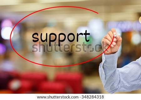 customer service concept.businessman writing service  support On Screen - stock photo