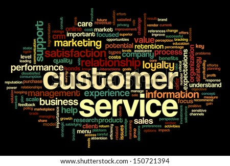 Customer service concept in word tag cloud on black