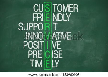 customer service concept on blackboard - customer friendly support - stock photo