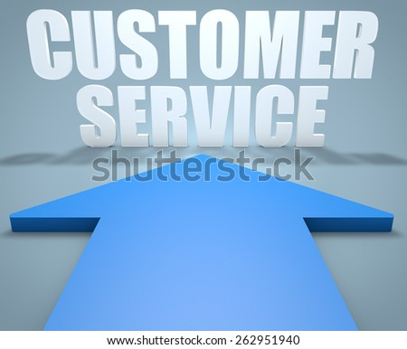 Customer Service - 3d render concept of blue arrow pointing to text. - stock photo