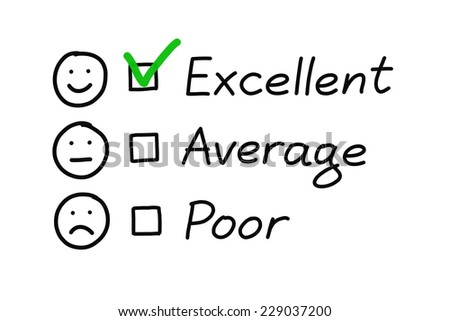 Customer service evaluation form with green check mark on excellent. - stock photo