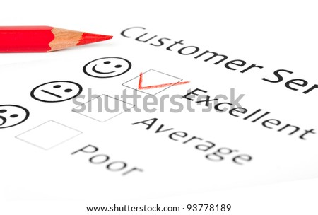 Customer Service Feedback Form Showing Excellent Stock Photo