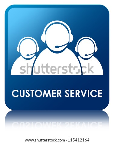 Customer service glossy blue reflected square button - stock photo