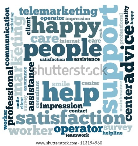 customer service info-text graphics and arrangement concept on white background (word cloud) - stock photo