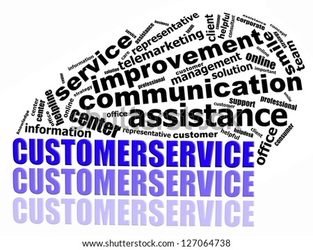 CUSTOMER SERVICE info text graphics and arrangement concept (word clouds) on white background - stock photo
