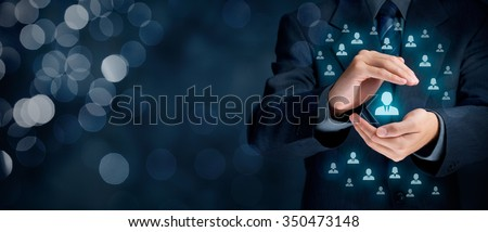 Customer service management and care, patron protection, customer personalization, individual customer, care for employees, customer retention, customer relationship, marketing segmentation concepts. - stock photo