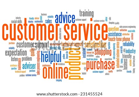 Customer service marketing issues and concepts tag cloud illustration. Word cloud collage concept.