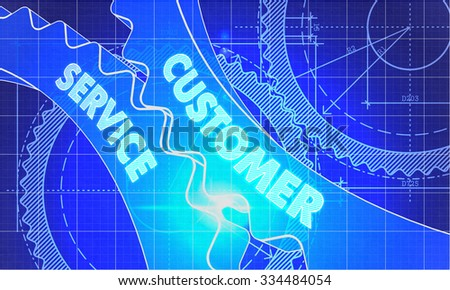 Customer Service on the Mechanism of Gears. Blueprint Style. Technical Design. 3d illustration, Lens Flare. - stock photo