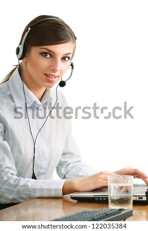 Customer service operator isolated on white background - stock photo