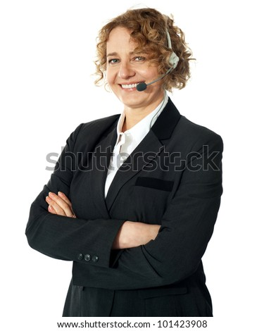 Customer service operator smiling with crossed arms - stock photo