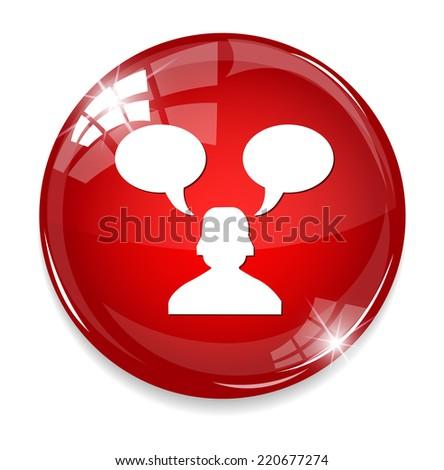 customer service operator with speech bubbles - stock photo