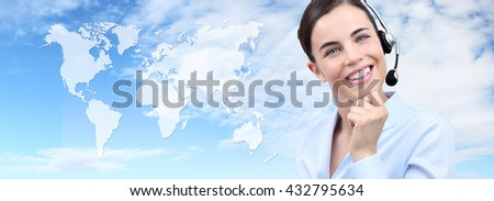 Customer service operator woman with headset smiling, world map on background, contact us concept