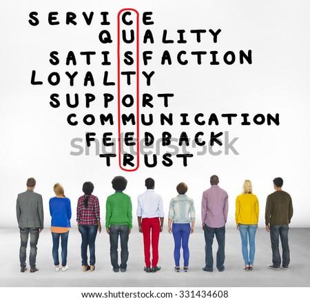 Customer Service Quality Satisfaction Crossword Puzzle Concept - stock photo