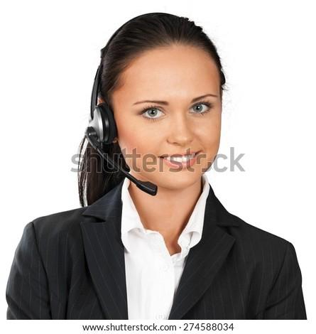 Customer Service Representative. Female customer service representative smiling - stock photo