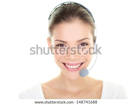 Customer service representative headset woman talking giving online help desk support looking at camera friendly happy and smiling isolated on white background. Asian./ Caucasian female girl, 20s. - stock photo