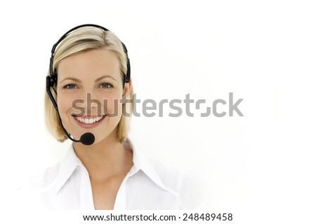 Customer service representative - isolated - stock photo