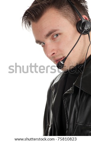 customer service representative man in headset and leather jacket - stock photo