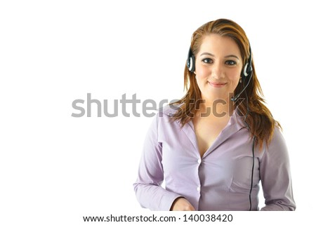 Customer Service Representative on phone with client - stock photo