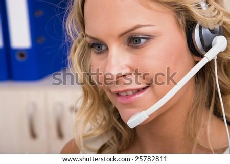 customer service representative portrait at the office - stock photo