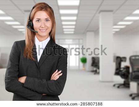 Customer Service Representative, Service, Telephone. - stock photo