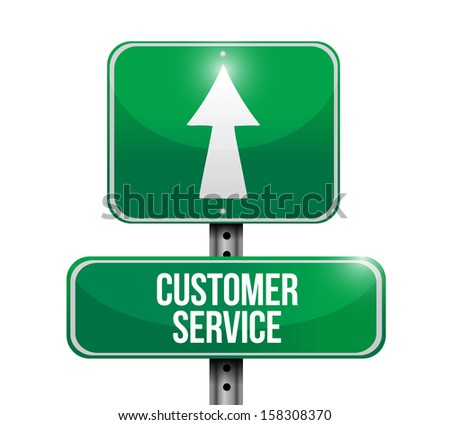 customer service road sign illustration design over white - stock photo