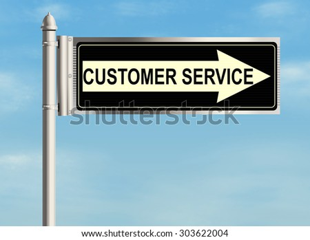 Customer service. Road sign on the sky background. Raster illustration.