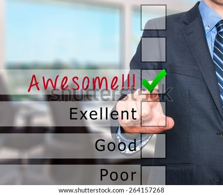 Customer service satisfaction survey. Businessman pushing button isolated on office background - Stock Image - stock photo