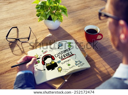 Customer Service Support Assistance Service Help Guide Concept - stock photo