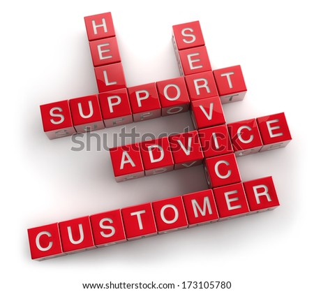 Customer service support crossword on white. Clipping path included for easy selection.