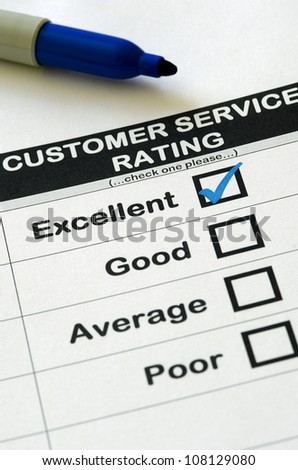 Customer Service Survey With Excellent Rating Chosen - stock photo