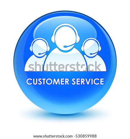 Customer service (team icon) glassy cyan blue round button