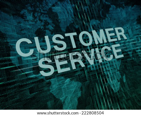 Customer Service text concept on green digital world map background  - stock photo