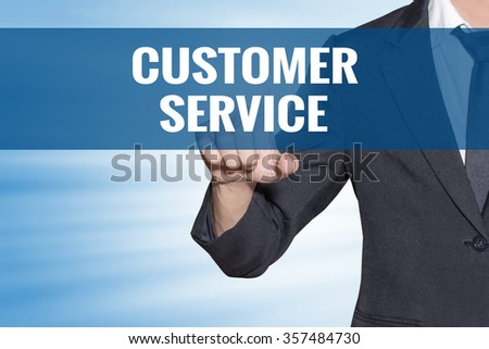 Customer Service word Business man touching on blue virtual screen - stock photo