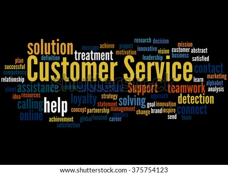 Customer Service, word cloud concept on black background.