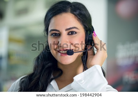 Customer Service worker, call center ,operator with headset  - stock photo