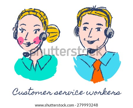 Customer service workers sketch drawing - stock photo