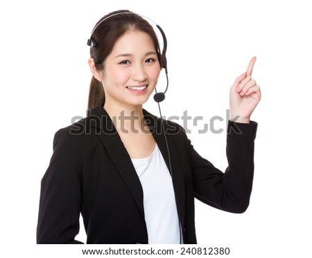 Customer Services officer and finger point up